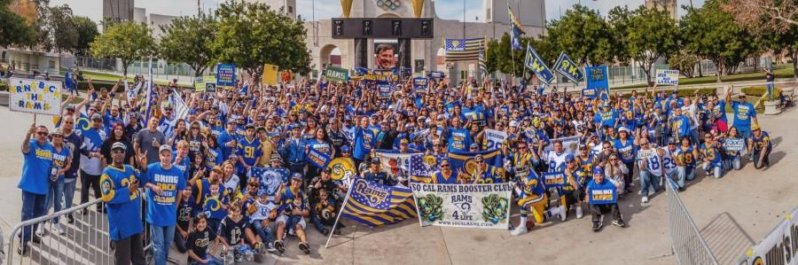 Los Angeles Rams fans gather for a rally to bring the team back to their city outside of the LA Memorial Stadium.