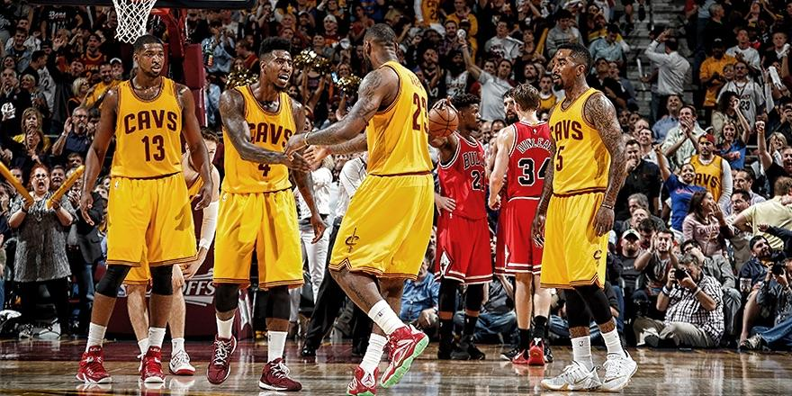 LeBron James communicating with his teammates during the 2nd round of the 2014-15 NBA Playoffs.