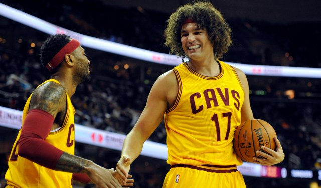 Ex-Cavalier Anderson Varejao celebrating a win with new acquisition and former Cavalier Mo Williams.
