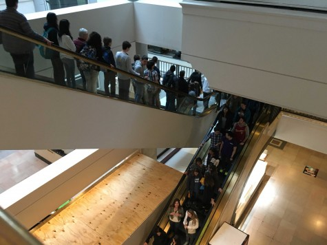 SHS students crowded the escalator in anticipation of the films.