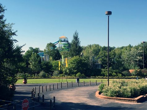 The view of Wildwater Kingdom's water slides: Thunder Falls.