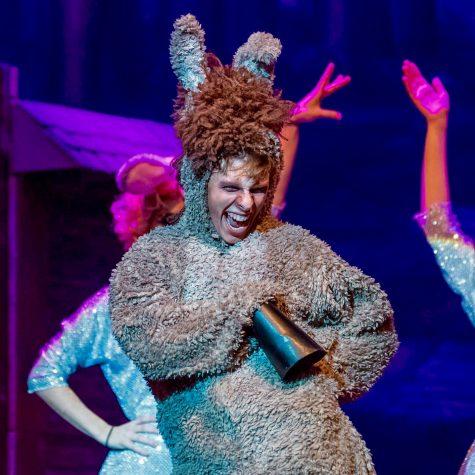 J.R. as Donkey is SHS Drama Club's production of Shrek the Musical