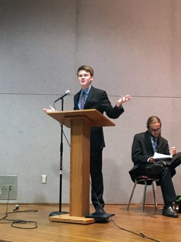 Senior and Young Democrats President Nick Sattele debated the topic of taxes.