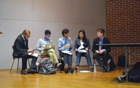 The Young Democrats waiting to debate in the SHS lecture hall.