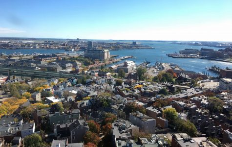 A view of Charlestown, Massachusetts, from the top of the Bunker Hill Monument.