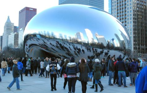 The Cloud Gate in Millennium Park, a large Chicago attraction.