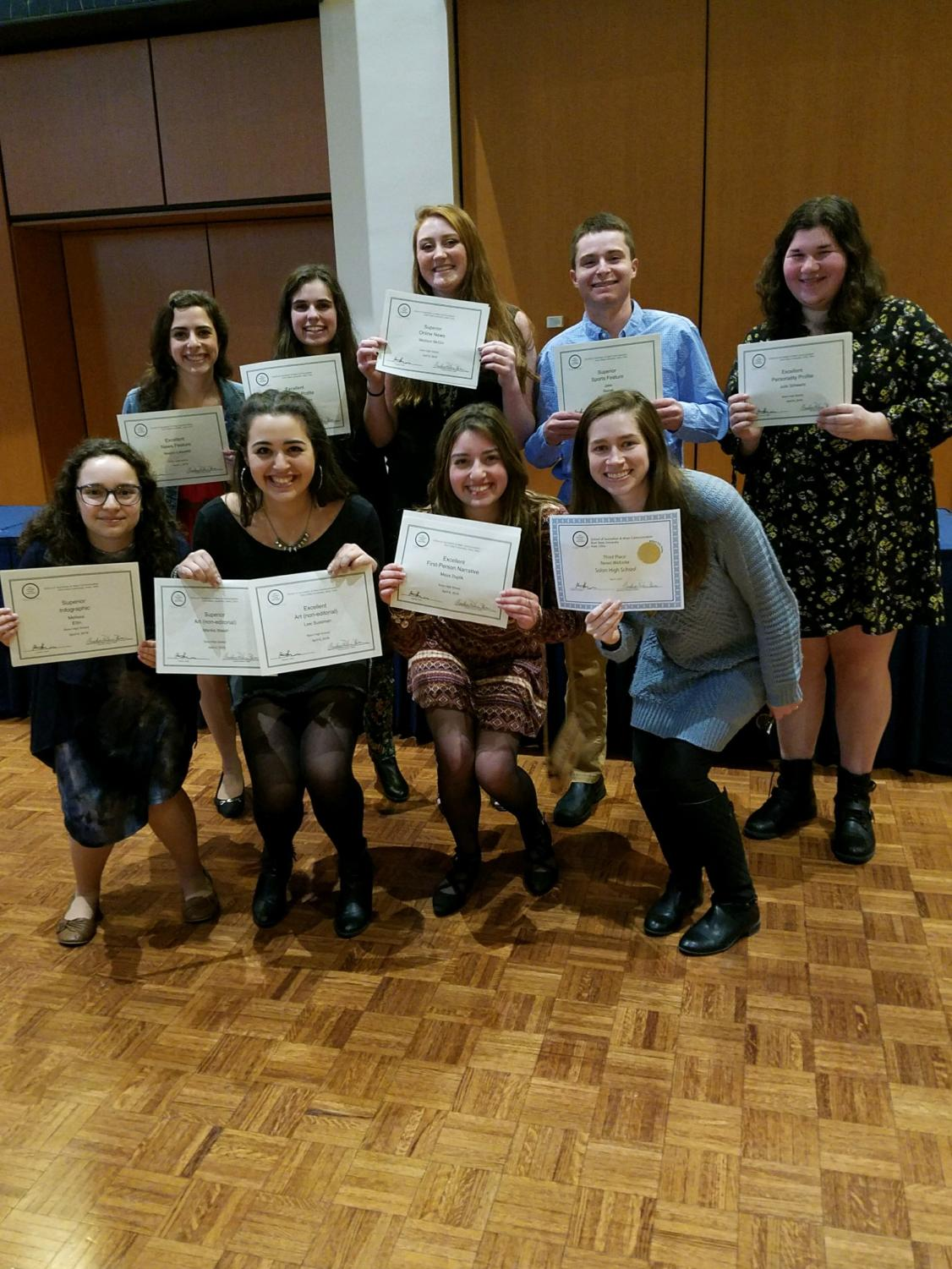 (From top left) Megan Lebowitz, Christina Cartwright, Madison McGirr, Jake Novack, Julia Schwartz. (From bottom left) Melissa Ellin, Lexi Sussman, Maya Duplik, Margaret Locke. At the OSMA state conference, the Courier racked up 20 individual awards and one staff award.