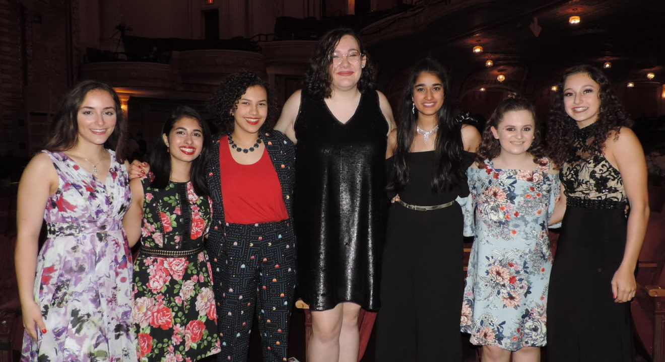 From left to right: Olivia Heus, Nandana Ahuja, Madison Bolden, Isabella Rothenfeld, Chatura Tamirisakandala, Morgan Herchick and Amanda Weiskind.
