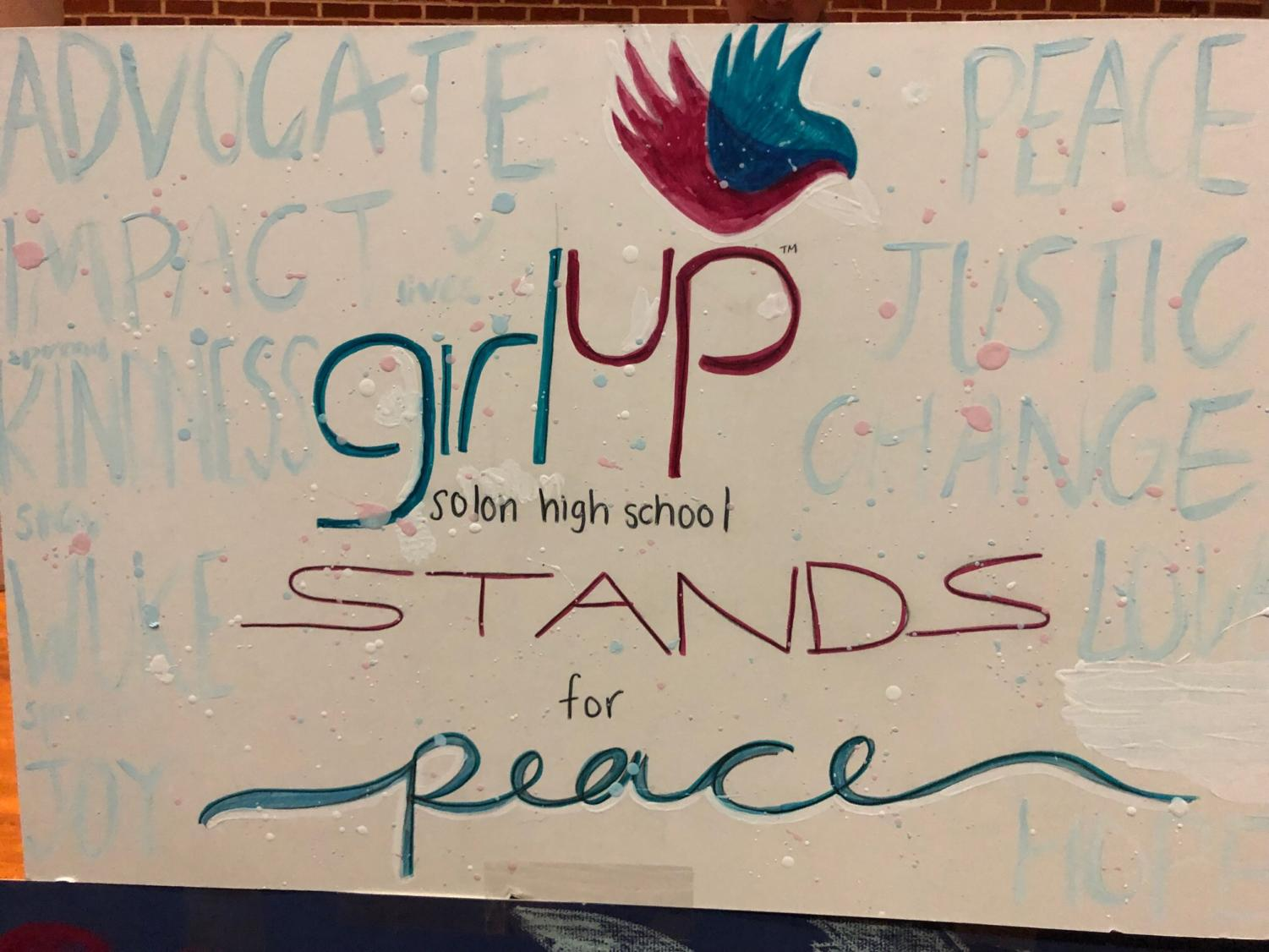 The Girl Up Club poster made for the vigil. Photo taken by Tamara Strom.