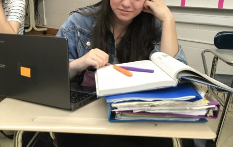 Rebecca Lockman stressing over her upcoming medterms. Photo taken by Danielle Parran.