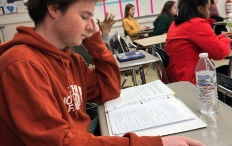 Matt Ponikvar studying for a test. Photo taken by Alex Lavine.