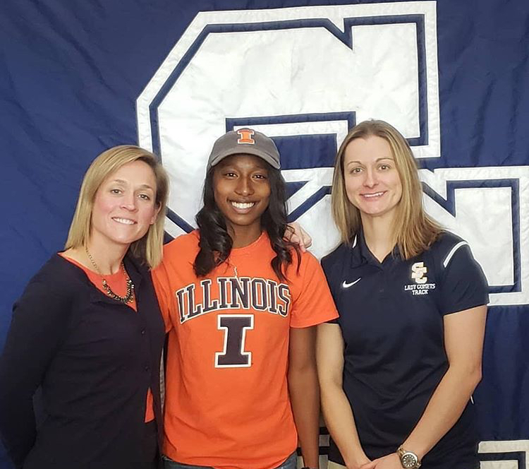 Olivia+Howell+committed+to+University+of+Illinois+for+track+on+Signing+Day.+Photo+courtesy+of+her+instagram.