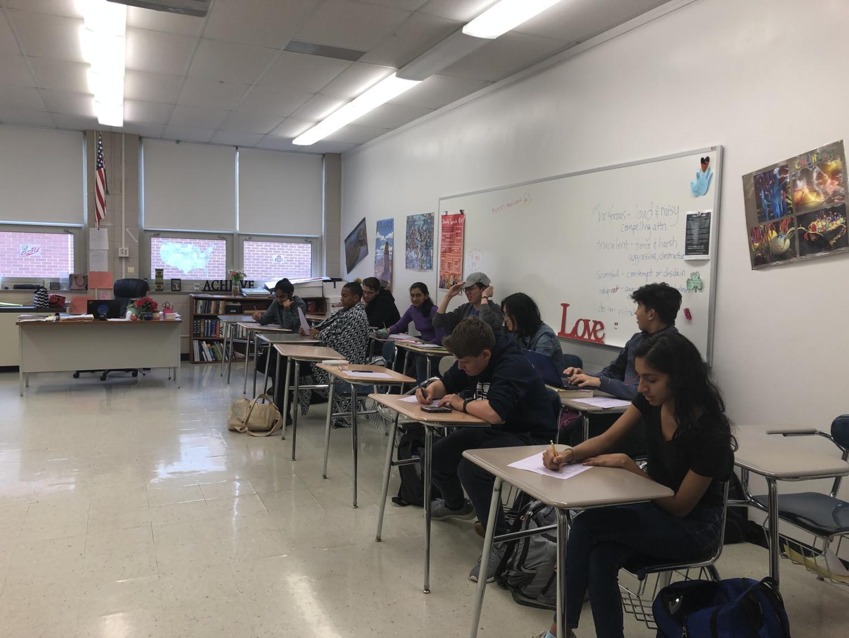 Nanci Bush's 7th period AP English Language and Composition class. Photo taken by Lara Decastecker.