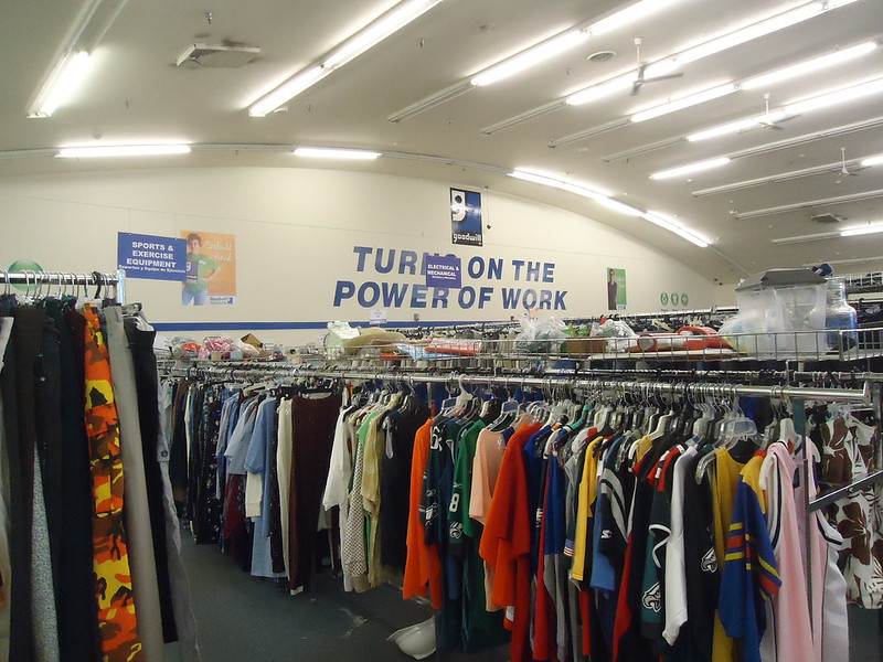 The interior of a Goodwill thrift store on the White Horse Pike in Stratford, New Jersey. https://www.flickr.com/photos/nintendo85/18721112039.