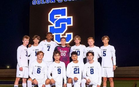 The Solon Comet senior soccer players ready to challenge their next opponent. Photo Courtesy of Doug Wolf