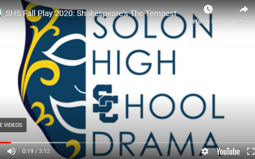 SHS Fall Play 2020: Shakespeare's The Tempest