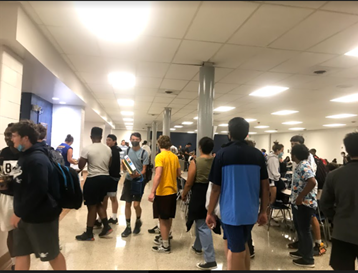 Cafeteria line filled with students during 4C lunch.