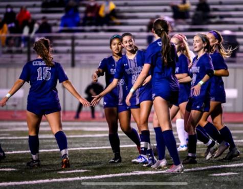 Solon girls' soccer team at Stewart stadium, photo courtesy of Doug Wolfe