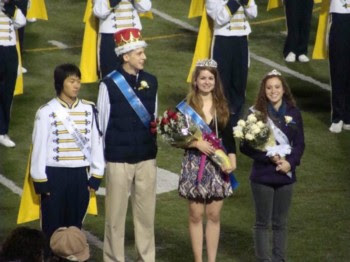 Allison Pohle being crowned Solons Homecoming Queen at a 2009 football game.
