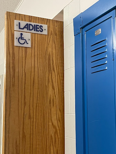 Caption: Upstairs Solon High School ladies bathroom.