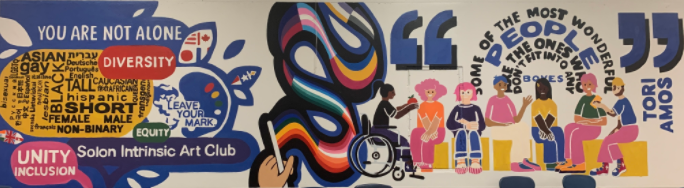 Mural painted by the Intrinsic Art Club on diversity and inclusion. Courtesy of Elizabeth Huang